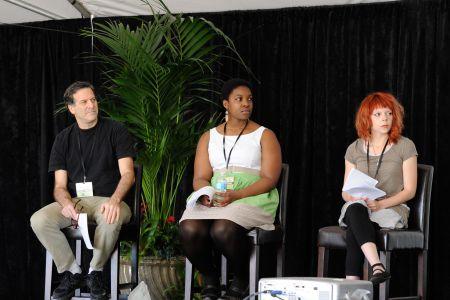 Luke Tennis, Michelle Chikaonda, and  Emelia Reuterfors at the Literacy Award Winners Panel at the 2014 Tucson Festival of Books.
