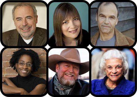 The 2014 Festival Lineup includes (clockwise from top left) Richard Russo, Alice Hoffman, Scott Turow, Sandra Day O'Connor, Craig Johnson, and Jacqueline Woodson.