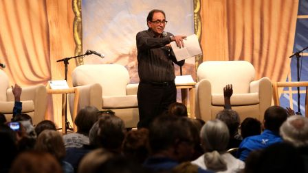 Writer R.L. Stine, who was given the 2013 Founder's Award, tries to create an impromptu story with help of the audience during the fifth Tucson Festival of Books at the University of Arizona.